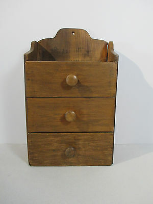 "Wooden Drawer Cabinet Spice Wall Table or Desk Primitive Small 3 Drawer 14"" Tall"