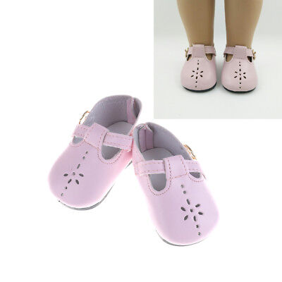 1 Pair Pink Leather Doll Shoes for 18 inch Dolls 43Cm ST