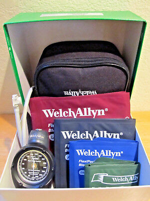 Welch Allyn DS58 Aneroid Gauge Family Practice Kit with 4 Flexiport Cuffs - NEW