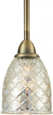 Allen + Roth Lynlore 4.53-in Old Brass Vintage Mini Tinted Glass Dome Pendant