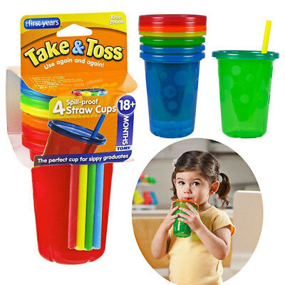 Take & Toss Spill Proof Straw Cups Sippers Reusable Child Toddler 4 Cup No Spill