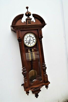 Antique 2 Weight Figured Walnut Vienna Regulator Wall Clock