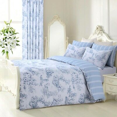 Blue Grey Floral Reversible French Toile Duvet Set Bedding Quilt Cover All Sizes