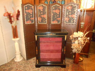 Antique victorian ebonised black pier cabinet display inlaid and metal detail