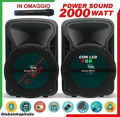 COPPIA DI CASSE AMPLIFICATE 2000 Watt USB SD Bluetooth WIRELESS Radio KARAOKE DJ