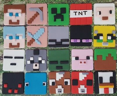 Edible Square Minecraft Cupcake Toppers x6 4.5cms, 21 To Choose From, Fondant