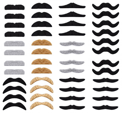 Whaline Self Adhesive Fake Mustache Set, Novelty Mustaches for Costume and Hallo