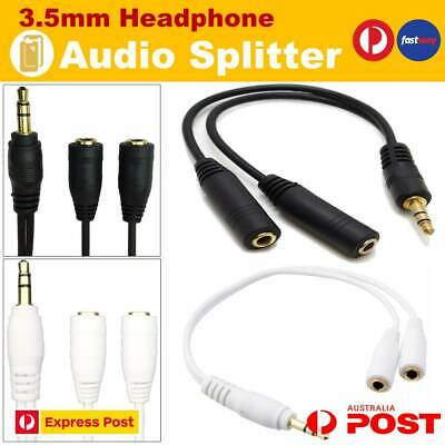 2 Earphone Y Splitter 3.5mm Audio Cable Jack Headphone Headset Auxiliary Adapter