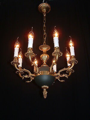 Old French bronze Empire style 8 arm chandelier green patina