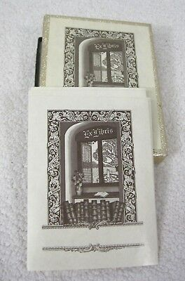 Antioch Book Plates Books and Window Ex Libris Boxed set of 17 T83