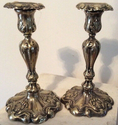 Pair of Antique Silver Plated Victorian Rococo  Candlesticks ART NOUVEAU