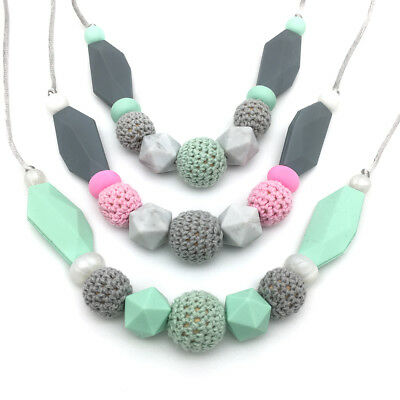 Silicone Teething Necklace Natural Wood Crochet Beads Nursing Necklace Teether