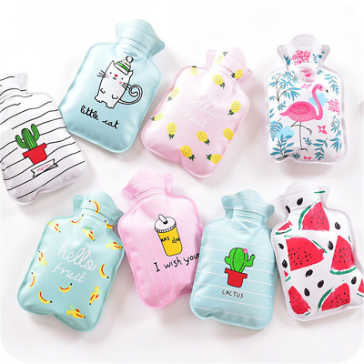 Cute Mini Water Bottles Portable Hot Warm Water Storage Bag Cartoon Design Cover