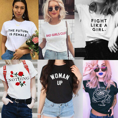THE FUTURE IS FEMALE Girl Power Feminist Woman Protest Resist T-shirts Top Tees