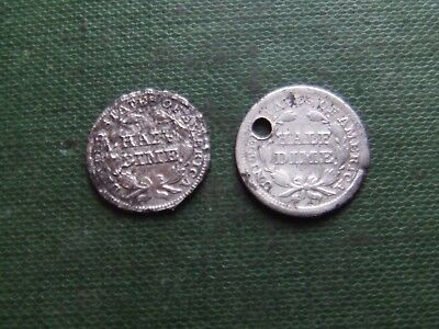United States  1848 & 1853  Silver Half Dime.      Poor Condition.