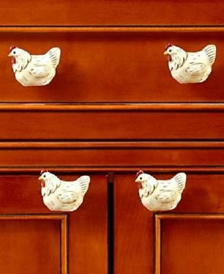 Set of 4 Rooster Drawer Pull Knob Country Farmhouse Barnyard Animal Kitchen