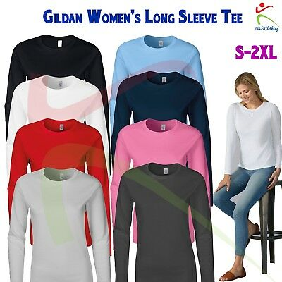 GILDAN Softstyle® Womens Long Sleeve T-Shirt Ladies Fitted Tee Soft Jersey T TOP