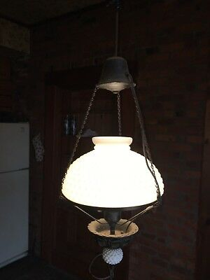 Vintage Brass Pull Down Hanging Ceiling Light HOB NAIL MAYBE FENTON  Chandelier