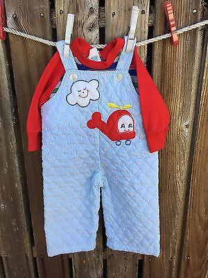 6 9 M Vintage Baby Boy Tiny Tots Blue Stripe Quilted Overalls Tee Helicopter Set