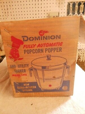 vintage Dominion Fully Automatic popcorn popper/utility cooker model 1711 inbox