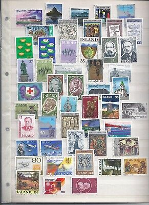 Iceland Fine used Lot total of 50 Stamps Selection Good Condition (2068)