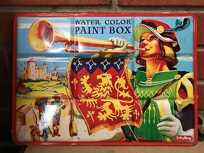 Vintage Schylling Metal Water Color Paint Box Tin