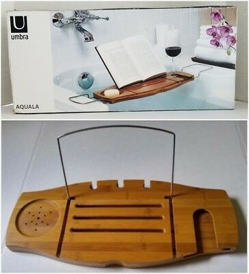 UMBRA AQUALA BAMBOO Bath Caddy Bathtub Wine Book Reading Stand Rack ...