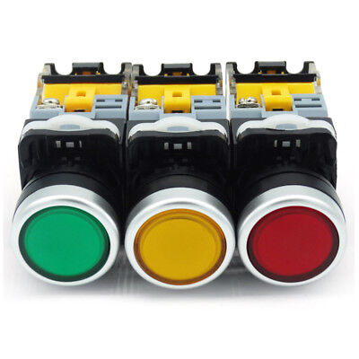 22mm 220V Momentary Push Button Switch LED illuminated NO NC  Green Red Yellow