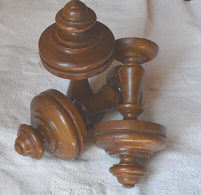 3 matching antique hand turned wooden finials