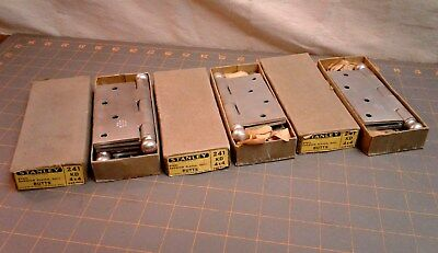 5 Butt Door Hinges Steel Cadmium Plated Cannon Ball Tips Stanley Vintage NOS