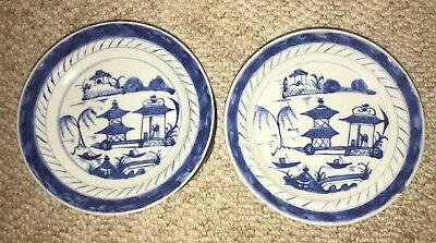 """Antique Two Chinese Export Blue Canton 5 3/4"""" Plate/Dish ca. Early 20th Century"""