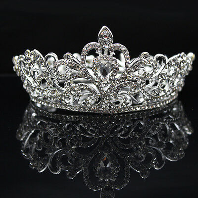 EP_ Elegant Lady Rhinestone Round Crown Tiara Wedding Bridal Pageant Headpiece B