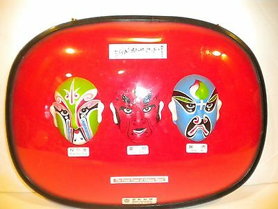 Chinese Hand Painted Clay Opera Face Masks 3D Wall Hanging Decor Plaque #5549