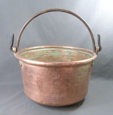 Big Antique French Copper Cauldron Kettle, Wrought Iron Handle, Hammered 1900's