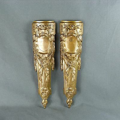 Pair of French Antique Ormolu Plaque Finials Mount Leg Cover Furniture
