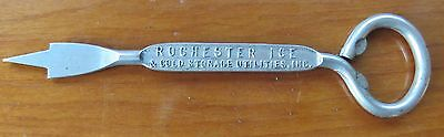 Rochester Ice & Storage Ice Pick / Bottle Opener 4 digit phone NY 1920's Cool!