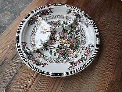 Booths Silicon China Ceylon Ivory Indian Tree 3 Section Plate