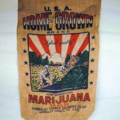 AMERICAN HOMEGROWN BURLAP BAG home grown marijuana pot leaf reefer sacks NEW