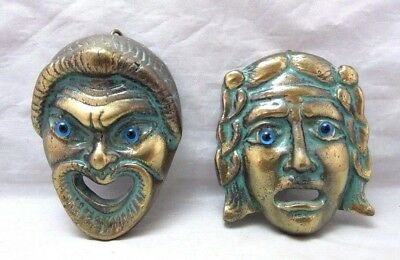 Vintage pair of small, brass theater Drama masks wall plaques