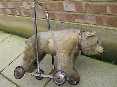 1920's CHILTERN TEDDY BEAR PULL PUSH ALONG