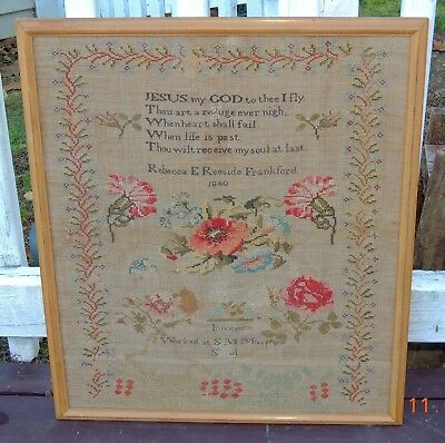 Antique New England Needlework Schoolgirl Sampler, Signed and Dated 1840
