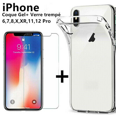 100% Verre trempé Film Protection écran+ Coque crystal iPhone X XS Max XR 8 7 6