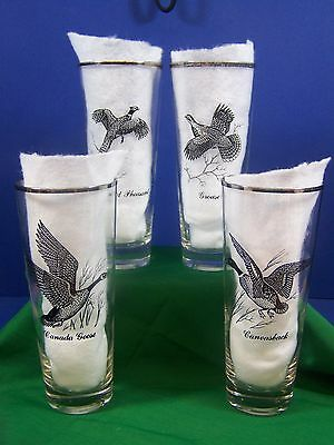 Sportsman Tall Tumbler 14 oz Pheasant Grouse Goose Hunting Federal Glass Silver