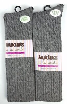 NEW Muk Luks Women's Over The Knee High Socks OSFM Gray Textured (lot of 2)