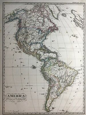 Lg. Antique PERTHES 1874 Map of America US