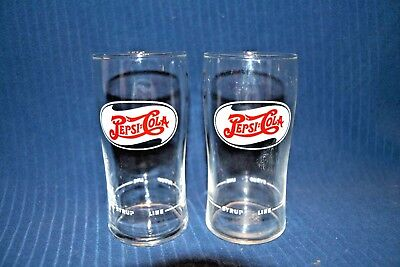 rare 1950s PEPSI COLA 10oz SMALL FOUNTAIN DRINKING GLASS ~SYRUP LINE~ nice