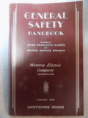 1940 Western Electric  General Safety Handbook Hawthorne Works Chicago