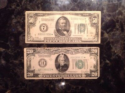 1928 $50 FRN - Numerical 7 - STAR NOTE + 1928 B $20 FRN  - New York - STAR NOTE