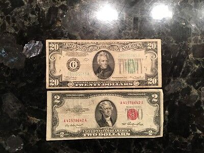 1934 A $20 Federal Reserve Note - Chicago - MULE + 1953 $2 USN - Red Seal