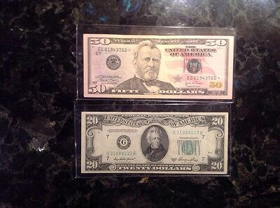 2004 $50 FRN - STAR NOTE + 1950 A $20 Federal Reserve Note  -  Chicago